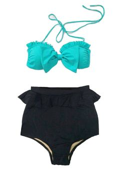 Mint Bow Top and Black Peplum Highwaisted High by venderstore, $39.99