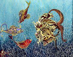 "Artist - Nita Desai Size - 48"" x 60"" Medium - Acrylic on Canvas www.worldarthub.com #thearthub #paintings #art #Acrylic_on_Canvas #Acrylic #Canvas #artist #Nita_Desai #Fishes #Living_Room #indianartist #artgallery #worldart #mumbai #Buyonline #Online #Onlineshop"