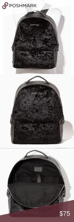 """Kendall & Kylie Malibu Hills grey/black backpack 🔥BRAND NEW IN PLASTIC!! Super cute and on trend Kendall & Kylie """"Malibu Hills"""" dark gray and black Velour backpack. Comes with dust bag. Kendall & Kylie Bags Backpacks"""