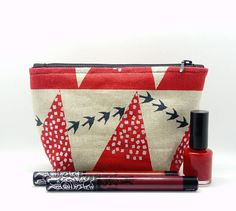 Small Japanese Flying Birds Makeup Bag - Cosmetics  Zip Pouch - Tampon Case - Red Silver Metallic Gift - Kokka Fabric Japan Echino