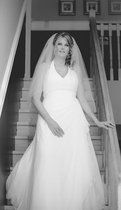 The Bride getting ready as she comes down the stairs. Bride Getting Ready, Stairs, Wedding Dresses, Creative, Fashion, Bride Dresses, Moda, Stairway, Bridal Gowns