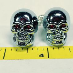 Bigger Cufflinks big huge Halloween chrome skull cufflinks #carolslist