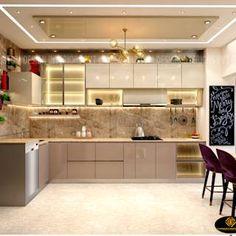 Kitchen Ceiling Design, Kitchen Pantry Design, Luxury Kitchen Design, Interior Design Kitchen, Room Interior, Modern Kitchen Tiles, Kitchen Modular, Modern Kitchen Cabinets, Modern Kitchen Interiors