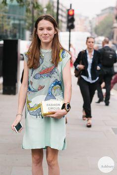 Ukranian designer Anna K of Anna K Fashion spotted outside the Simone Rocha SS15 show at London Fashion Week