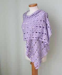 Lilac lace crochet shawl scarf cotton  G735