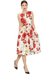 Floral Print Cotton & Silk Mikado Dress