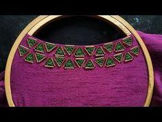 Embroidery On Kurtis, Hand Embroidery Dress, Kurti Embroidery Design, Hand Embroidery Videos, Zardozi Embroidery, Crewel Embroidery, Embroidered Blouse, Simple Embroidery Designs, Bead Embroidery Tutorial