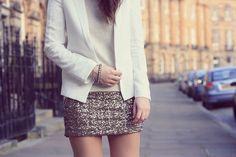 White Blazer, with knit and sparkly skirt c/o Mango