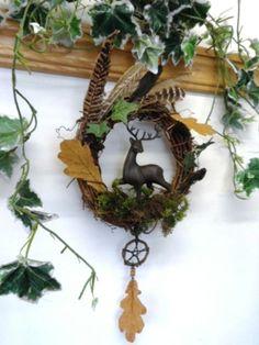 Beltane Cernunnos Horned God Stag Wreath. Handmade Pagan Wiccan Sabbat wreath.