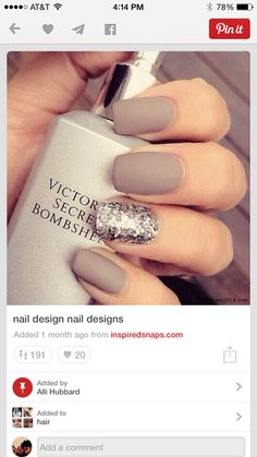 Matte Nude silver sparkles