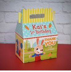 Harry the Bunny Party Personalized Gable Favor Box Bunny Birthday, Baby Girl First Birthday, Birthday Thank You, 2nd Birthday, First Birthday Party Supplies, First Birthday Parties, First Birthdays, Birthday Ideas, Harry The Bunny