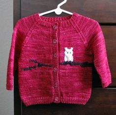 This owl sweater is a baby/toddler pattern.  The owl and branch are worked in intarsia method, worked in one piece (except the sleeves), and the pattern features both a chart and written instructions.  http://knitting.craftgossip.com/finally-another-owl-sweater/2012/02/23/
