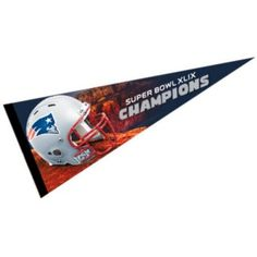 New England Patriots Super Bowl Champs Wool Pennant is our XLIX NFL Super Bowl Champs pennant which is made of flexible soft felt/wool, measures...