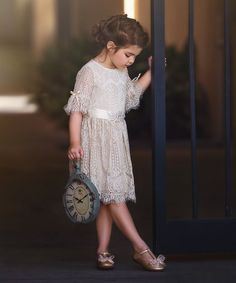 Another great find on #zulily! Tan Lace Corrinna A-Line Dress - Infant, Toddler & Girls #zulilyfinds