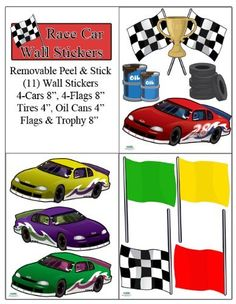Race Car Wall Stickers-Boys Room Wall Decals Peel & Stick by Create-A-Mural. $21.99. Cars, Flags, Tires, Oil Cans and Trophy wall stickers.. Race Car Wall Stickers. Peel & Stick Decals. Unique Custom Design Exclusive to Create-A-Mural. Repositional and Removable. Design a speedy race car focal point in your kids room with (11) race car wall stickers-remoavble peel and stick. Race Cars are 8""