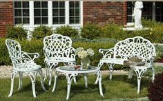 Garden Furniture - White Cast Iron Bistro Table and Chairs.
