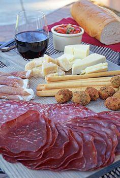 Italian Wine and Antipasto Spread