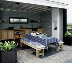 Outdoor kitchen Like rustic wood cabinets, some doors some open. Outdoor Rooms, Outdoor Dining, Outdoor Gardens, Indoor Outdoor, Outdoor Furniture Sets, Outdoor Decor, Dining Table, Garden Living, Home And Garden