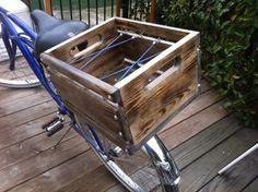 Custom Built Rustic Wood Crate Bicycle Basket by DigaDesigns - Love the tie down part of this design. Milk Crates, Wood Crates, Cruiser Bike Accessories, Rear Bike Rack, Velo Cargo, Bicycle Basket, Bike Style, Vintage Bikes, Bike Life