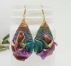Gold and purple drop earrings  Polymer clay di HappyElephantArt