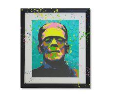 Multi layered frame popping stencil art, Frankenstein's monster by James Warner