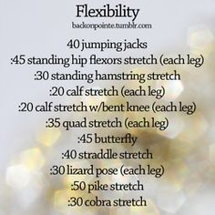 workout program for flexibility i don't know what a majority of these are :p