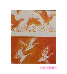 A one off burnt orange and gold geese lithograph. by Loloweir, £20.00
