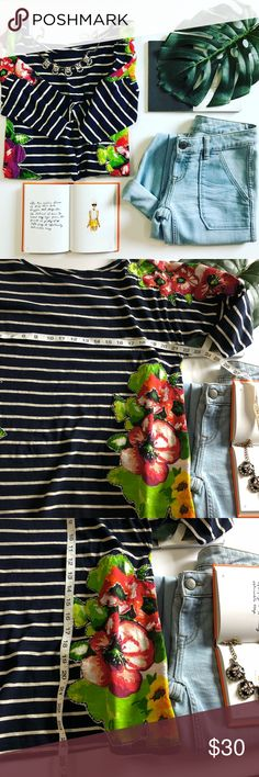 Meadow and rue striped floral top size large Meadow and rue striped floral top size large Great condition 3D floral appliqué  Soft and stretchy 3/4 sleeve  Perfect for warmer weather ✨  Any ? Please ask  I would love to accept your offer ✨💛 Anthropologie Tops