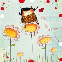 """Morgane Devillers carte postale carrée (14cm) """"Des jolies marguerites..."""""""