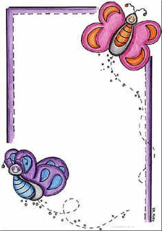 Butterflies: Free Printable Frames, Borders and Labels. (Oh My Quinceaneras! Printable Border, Printable Frames, Page Borders Design, Border Design, Boarders And Frames, Borders For Paper, Paper Frames, Binder Covers, Writing Paper