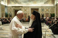 """For the first time in history an Ecumenical Patriarch from the Orthodox tradition attended the ceremony of installation of a Roman Pontiff. Pope Francis met yesterday the Ecumenical Patriarch of Constantinople, Bartholomew, calling him, significantly, """"my brother Andrew"""". (St. Andrew was St. Peter's brother)."""