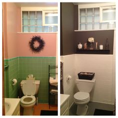 DIY bathroom redo for less than $200- transformed to Gray scale goodness. Paint tile using gripper first. Then floor tile with gripper and Behr garage floor paint! Accents found at home goods!