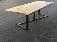 Rough Sawn Douglas Fir reclaimed from a San Francisco Waterfront home built in the early century meets a modern industrial steel base. This table is Rustic and quite modern.Custom sizes and bases are Iron Furniture, Steel Furniture, Rustic Furniture, Table Furniture, Reclaimed Wood Dining Table, Wood Table, Rustic Wood, Wood Steel, Wood And Metal