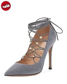 Kolnoo Damen Handgefertigte Rivest Spikes Wildleder Lace-Up 105mm High Heel Pumps Schuhe Gray EU40 (*Partner-Link)