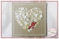 Tableau coeur en boutons blancs et rouges