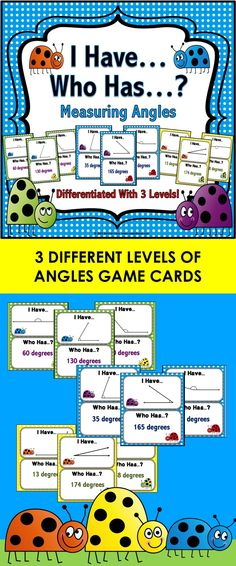 Angles 'I Have...Who Has' Game features 3 different levels of playing cards to help students practice measuring angles between 1-180 degrees. These 'I Have...Who Has' cards are so much fun, yet so simple to use. Plus, they can be played by individual students, by a small group of students, or even by the whole class!