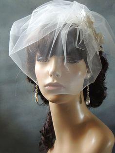 wedding birdcage veil Double Layer Short by svitlanasbridalveils, $28.00
