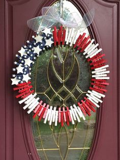 Patriotic rustic clothespin wreath by Christysclassycrafts on Etsy, $32.00
