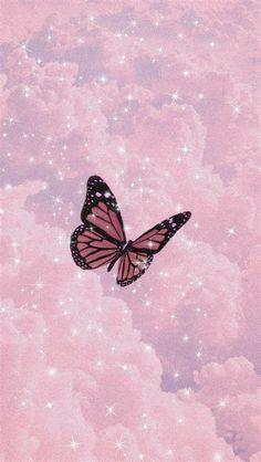 Pink Glittery Cloud Butterfly Wallpaper | Butterfly