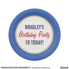 Trampoline kids birthday party paper plates