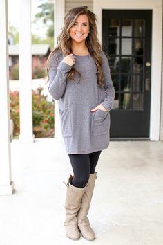 Wish You Were Here Sweater Tunic - Grey