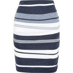 James Perse Pacific striped jersey pencil skirt found on Polyvore