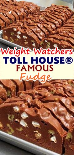 TOLL HOUSE® FAMOUS FUDGE When it comes to sweet treats, fudge is number one at our house. It doesn't really matter what type of fudge I'm making, the kids will devour it as if it was the last piece of food on Earth. Ww Desserts, Weight Watchers Desserts, Healthy Desserts, Delicious Desserts, Dessert Recipes, Yummy Food, Fudge Recipes, Ww Recipes, Candy Recipes