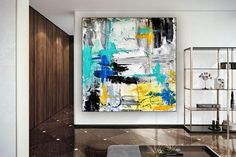 Oversized Wall Art Modern Abstract Painting Home Decor image 2 Large Canvas Wall Art, Abstract Canvas Art, Extra Large Wall Art, Oversized Wall Art, Colorful Artwork, Office Wall Art, Modern Wall Decor, Original Art, Original Paintings