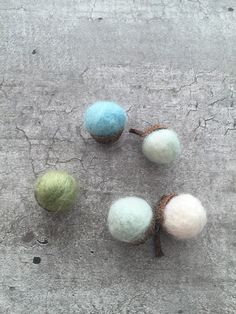 Felted Acorns, Wool Acorns, Acorns Cups, Natural Pastel Rustic Acorn Tops, Forest, Eco Home Decor Woodland Decoration