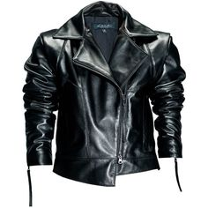 Leka - Black Leather Biker Jacket ($645) ❤ liked on Polyvore featuring outerwear, jackets, moto jacket, rider jacket, asymmetrical zip leather jacket, genuine leather biker jacket and motorcycle jackets