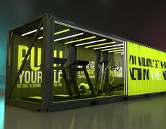 Next Container // Stopover GYM on Behance Container Design, Container Office, Shipping Container Home Designs, Container Shop, Container House Plans, Shipping Container Store, Shipping Containers, Container Buildings, Container Architecture