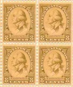 George Washington Set of 4 x 8 Cent US Postage Stamps NEW Scot 713 . $68.95…
