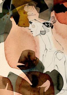 I ❤ illustration: Ekaterina Koroleva Painting Inspiration, Art Inspo, Images Cools, Art Sketches, Art Drawings, Collage Kunst, Watercolor Illustration, Abstract Watercolor Art, Beauty Illustration