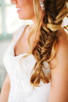 2014 DIY fishtail Braid hairstyle for brides - brown hair, Long Braided Hairstyle, 2014 Wedding Hairstyles